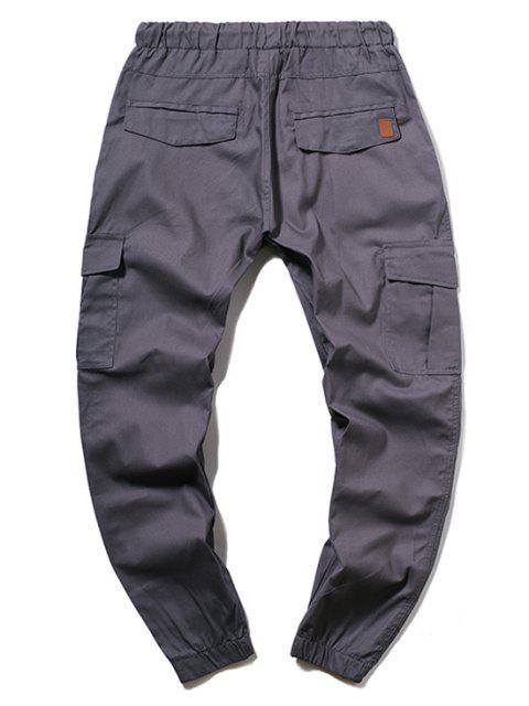 ZAFUL Pantalones Jogger de Color Sólido con Cordón - Gris Pizarra XL Mobile