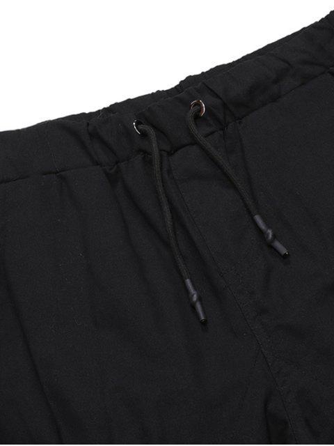 unique ZAFUL Solid Color Pocket Drawstring Cargo Pants - BLACK M Mobile