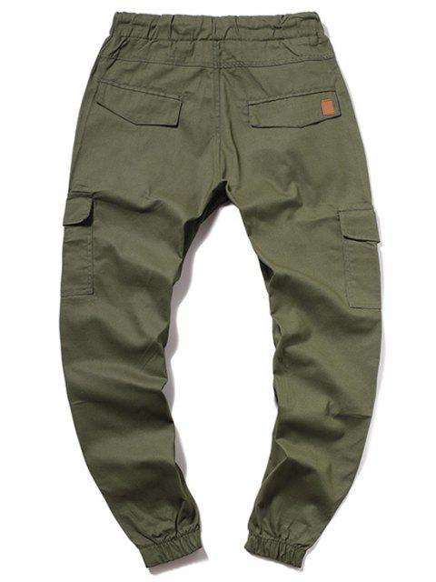 hot ZAFUL Solid Color Pocket Drawstring Jogger Pants - ARMY GREEN M Mobile