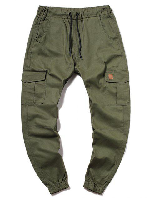 outfits ZAFUL Solid Color Pocket Drawstring Jogger Pants - ARMY GREEN L Mobile
