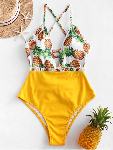 ZAFUL Gekräuselter Ananas Einteiliger Badeanzug mit Schnürung - Senf M Mobile