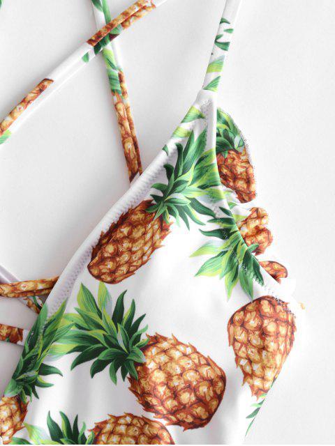 ZAFUL Gekräuselter Ananas Einteiliger Badeanzug mit Schnürung - Senf XL  Mobile