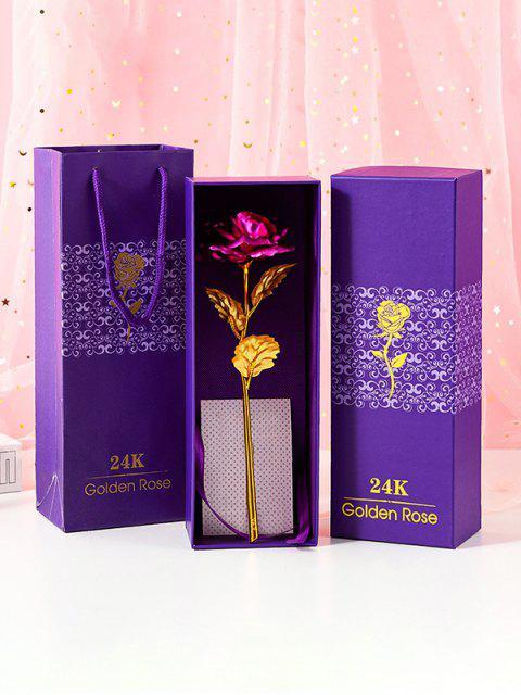 Красочный покрыли Искусственный цветок розы в коробке - Темная гвоздика-розовый  Mobile