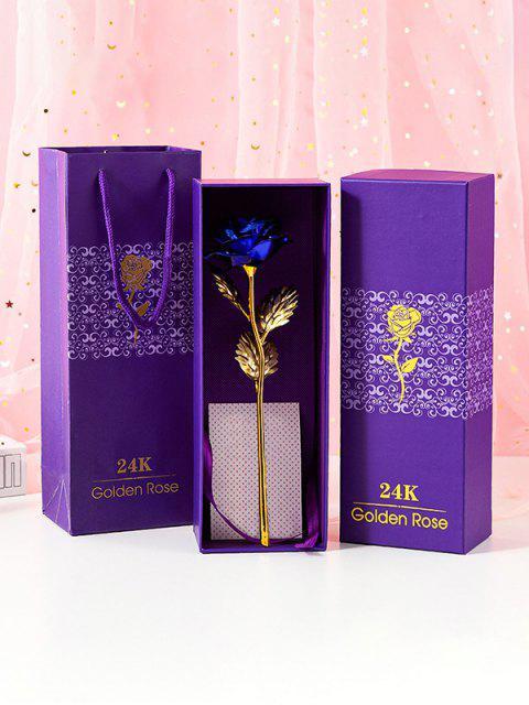 Красочный покрыли Искусственный цветок розы в коробке - Синий  Mobile