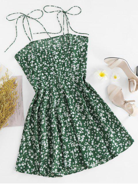 ZAFUL Vestido SinMangascon Hombro con Lazo y Estampado de Flor - Verde de Tortuga Marina L Mobile