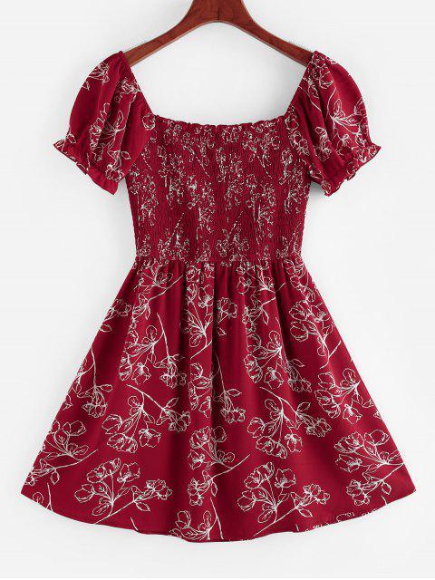 ZAFUL Mini Vestido de Moño de Volantes Fruncido - Rojo L Mobile