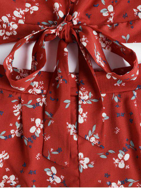 online Floral Flare Sleeve Wrap Two Piece Set - CHERRY RED M Mobile