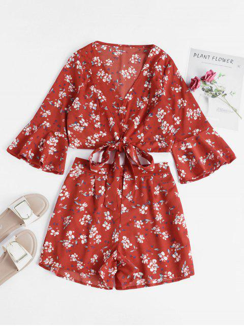 outfits Floral Flare Sleeve Wrap Two Piece Set - CHERRY RED S Mobile