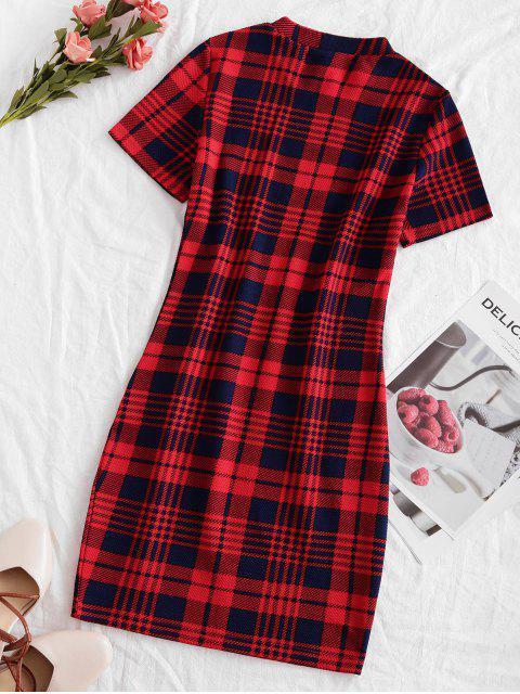 ZAFUL Mini Robe Moulante à Carreaux à Grille - Multi XL Mobile