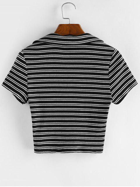 ZAFUL T-shirt Court Rayé - Noir S Mobile