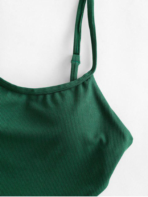 unique ZAFUL Cheeky Ribbed Tie Monokini Swimsuit - MEDIUM SEA GREEN XL Mobile