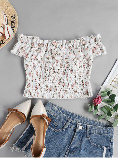 shops ZAFUL Tiny Floral Smocked Off Shoulder Blouse - WHITE M Mobile