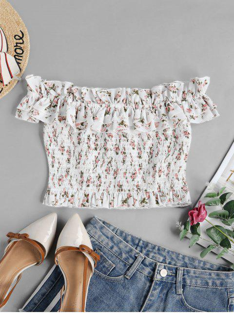 trendy ZAFUL Tiny Floral Smocked Off Shoulder Blouse - WHITE S Mobile