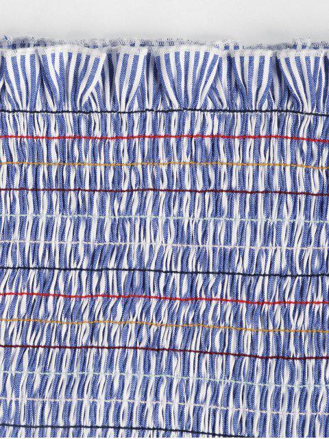 ZAFUL Top de Listras Franzido - Azul Denim M Mobile