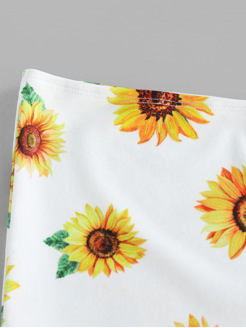 new ZAFUL  Strapless Sunflower Print Crop Top - WHITE S Mobile