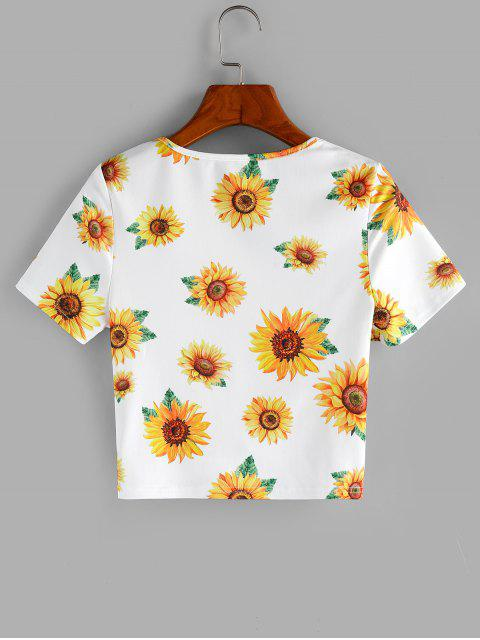 ZAFUL T-shirt Court Tordu en Avant Tournesol Imprimé - Blanc XL Mobile