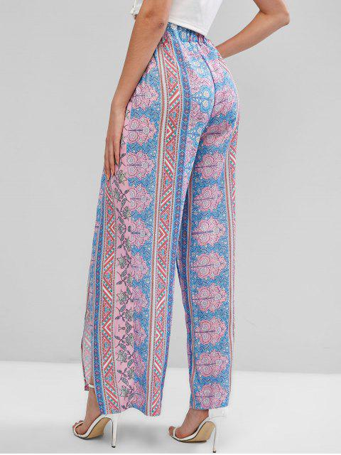 new ZAFUL Bohemian Floral High Waisted Tulip Pants - MULTI-A S Mobile