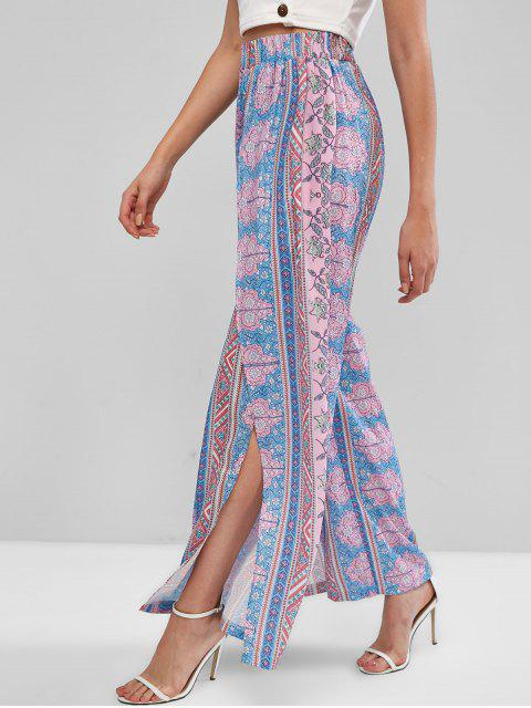 hot ZAFUL Bohemian Floral High Waisted Tulip Pants - MULTI-A M Mobile