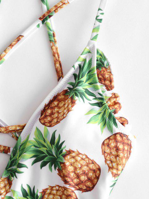 Costume Intero Di ZAFUL Stampato Ananas A Balze Con Lacci - Senape XL Mobile