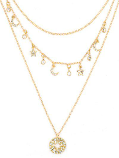 Moon Star Rhinestone Layered Necklace - from $6.70