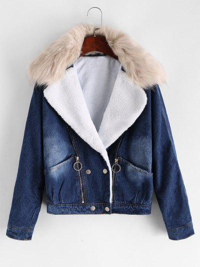 Fur Collar Zippered Front Denim Jacket - from $36.97