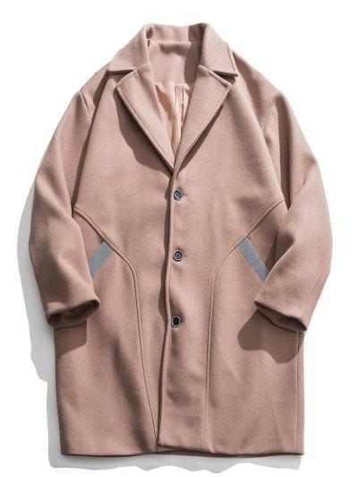 Reflective Stripe Trim Drop Shoulder Longline Woolen Coat - Camel Brown M