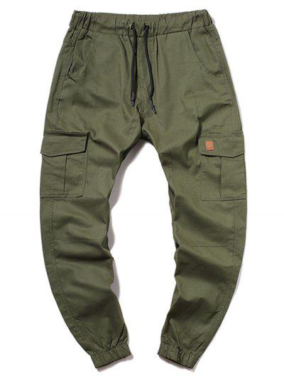 ZAFUL Solid Color Pocket Drawstring Cargo Pants - Army Green L