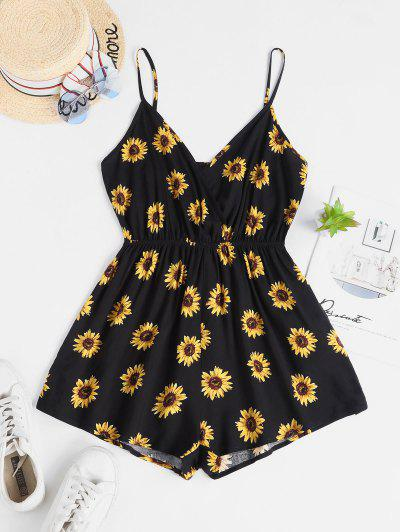 ZAFUL Surplice Elastic Waist Sunflower Cami Romper - Black S