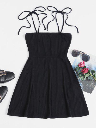 ZAFUL Tie Ribbed Skater Dress - Black S