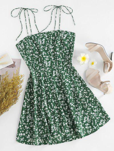 ZAFUL Ditsy Print Tie Shoulder Sleeveless Dress - Sea Turtle Green S