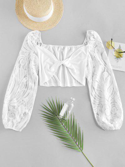 ZAFUL Lace Sleeve Twist Cropped Blouse - White S