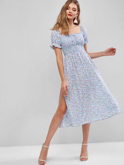 ZAFUL Floral Smocked Slit Puff Sleeve A Line Dress - Denim Blue M