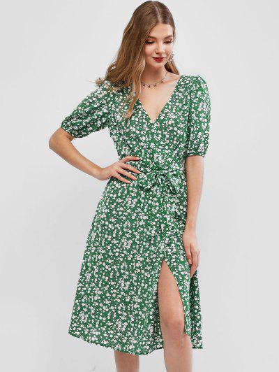 ZAFUL Ditsy Floral Surplice A Line Belted Dress - Multi L