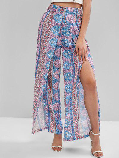 ZAFUL Bohemian Floral High Waisted Tulip Pants - Multi-a L