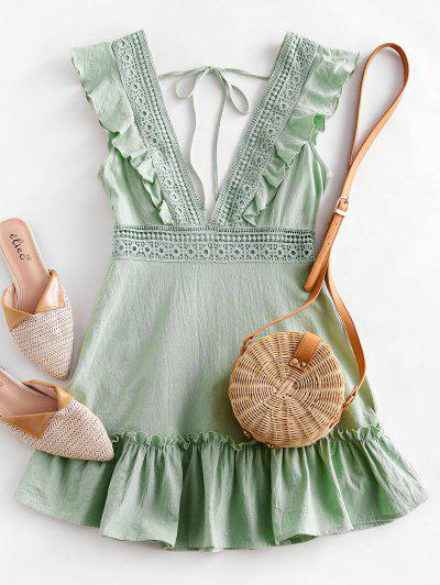 ZAFUL Plunge Crochet Panel Ruffle Dress - Pistachio Green S