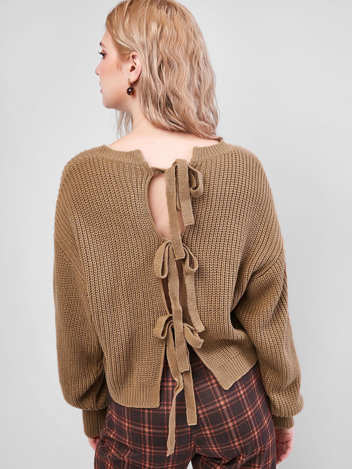 ZAFUL Knot Back Drop Shoulder Textured Sweater
