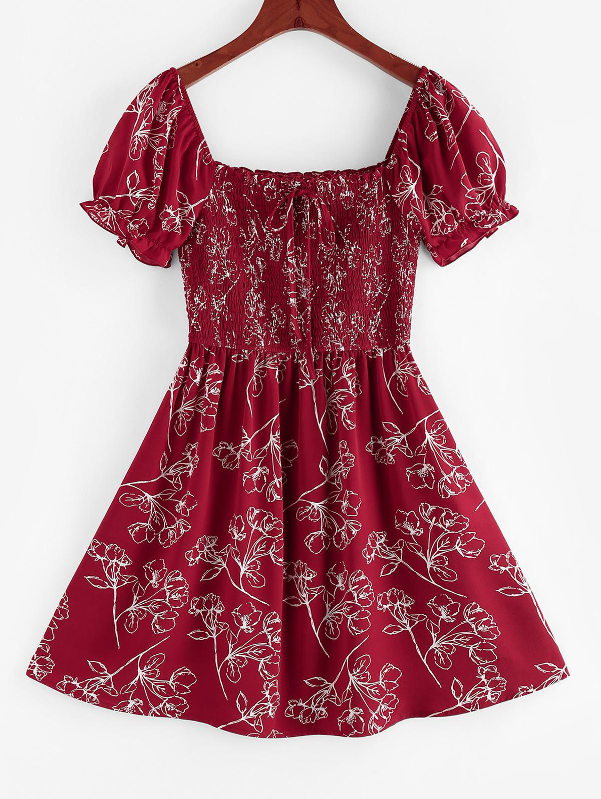 ZAFUL Flower Shirred Ruffle Bowknot Mini Dress фото