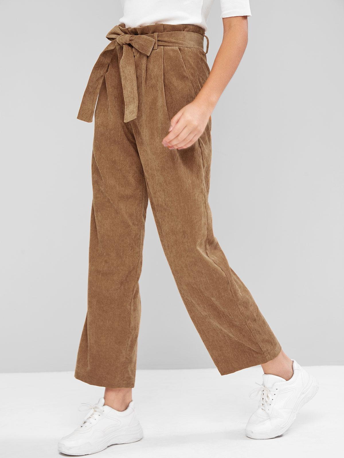 ZAFUL Belted Straight Corduroy Paperbag Pants