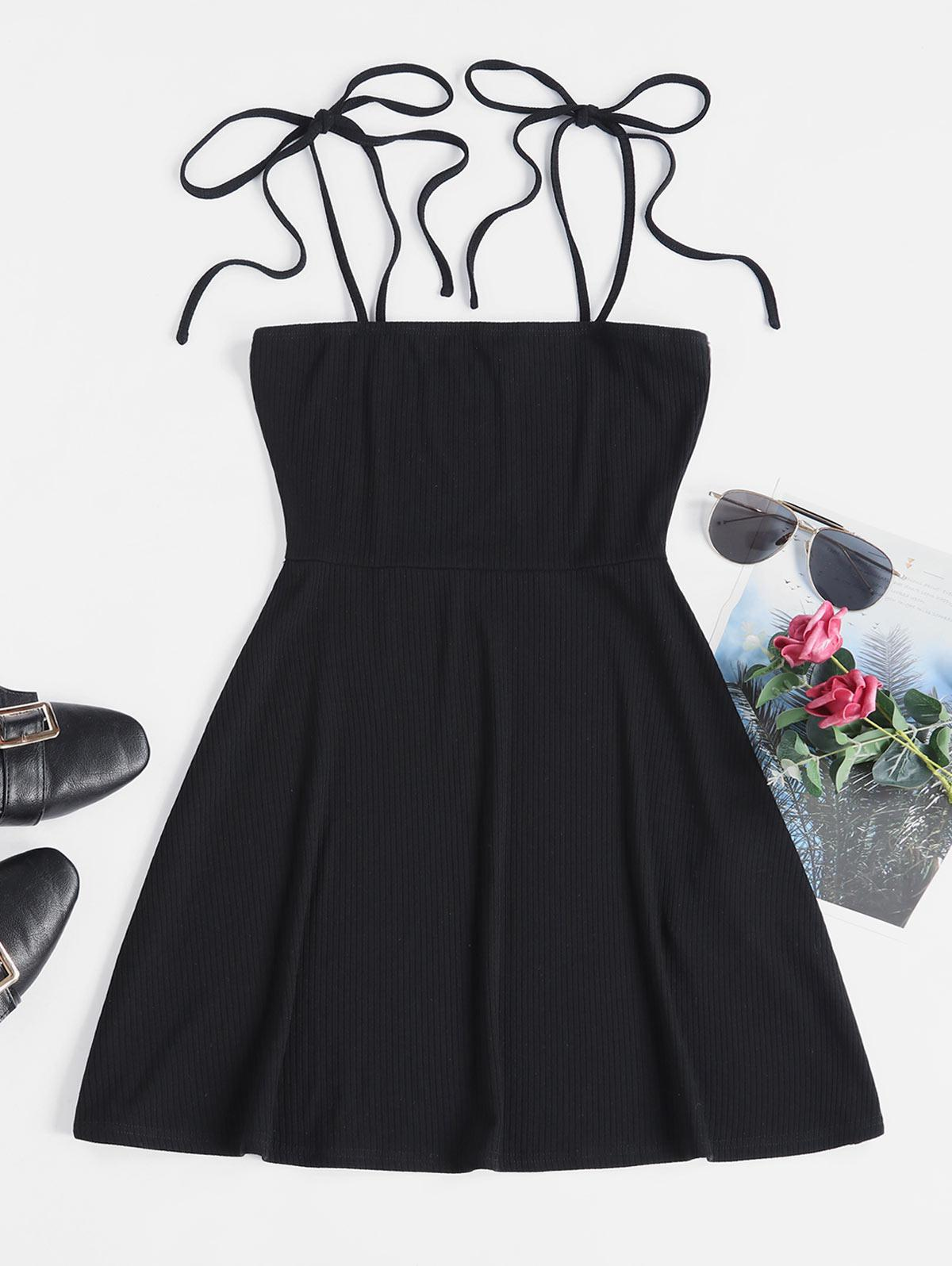 ZAFUL Tie Ribbed Skater Dress