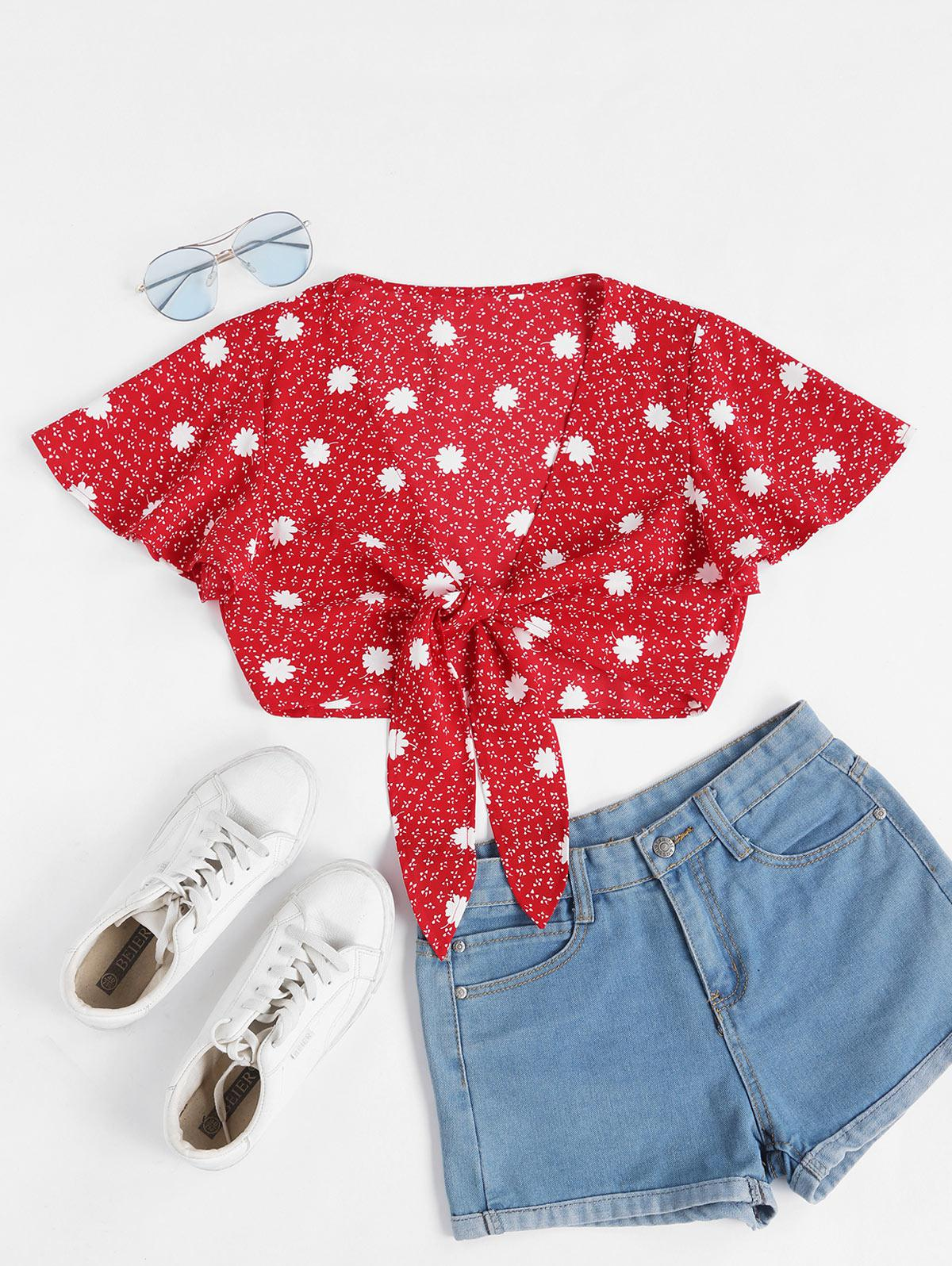 ZAFUL Floral Tie Butterfly Sleeve Crop Top фото