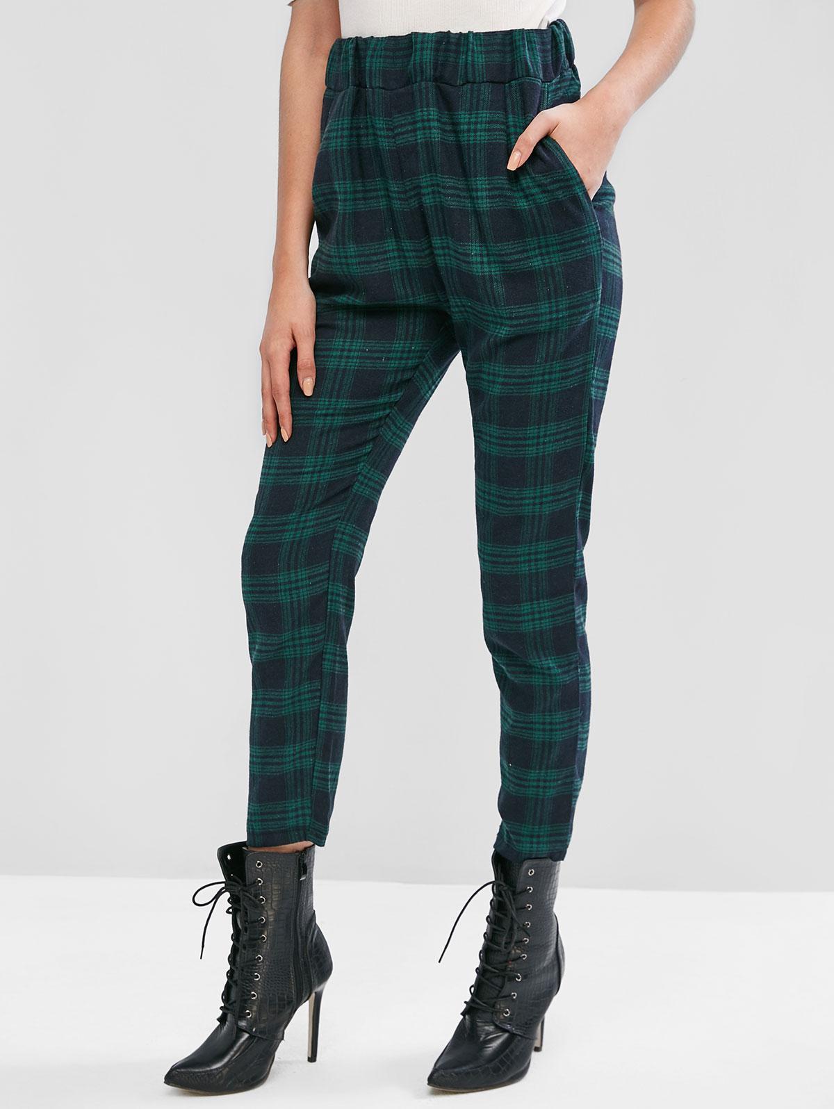 High Waisted Plaid Straight Pants фото