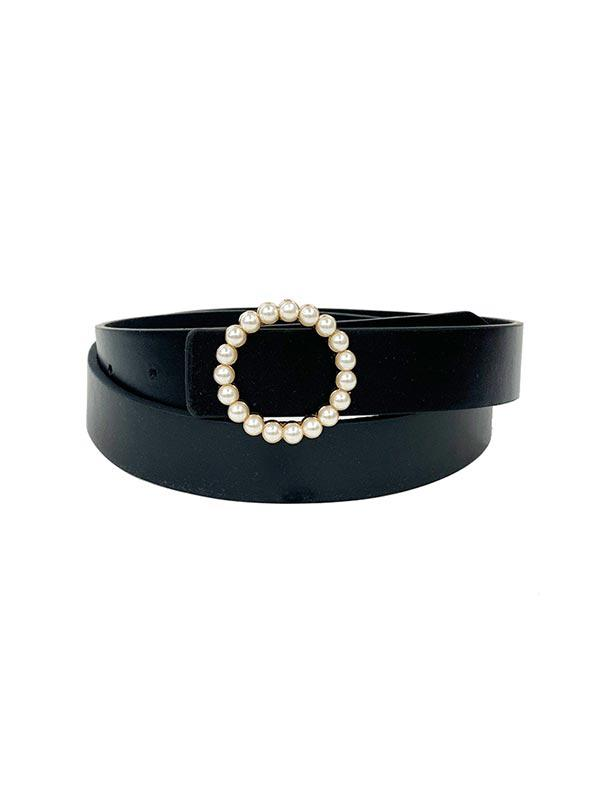 Round Pearl Buckle Dress Belt