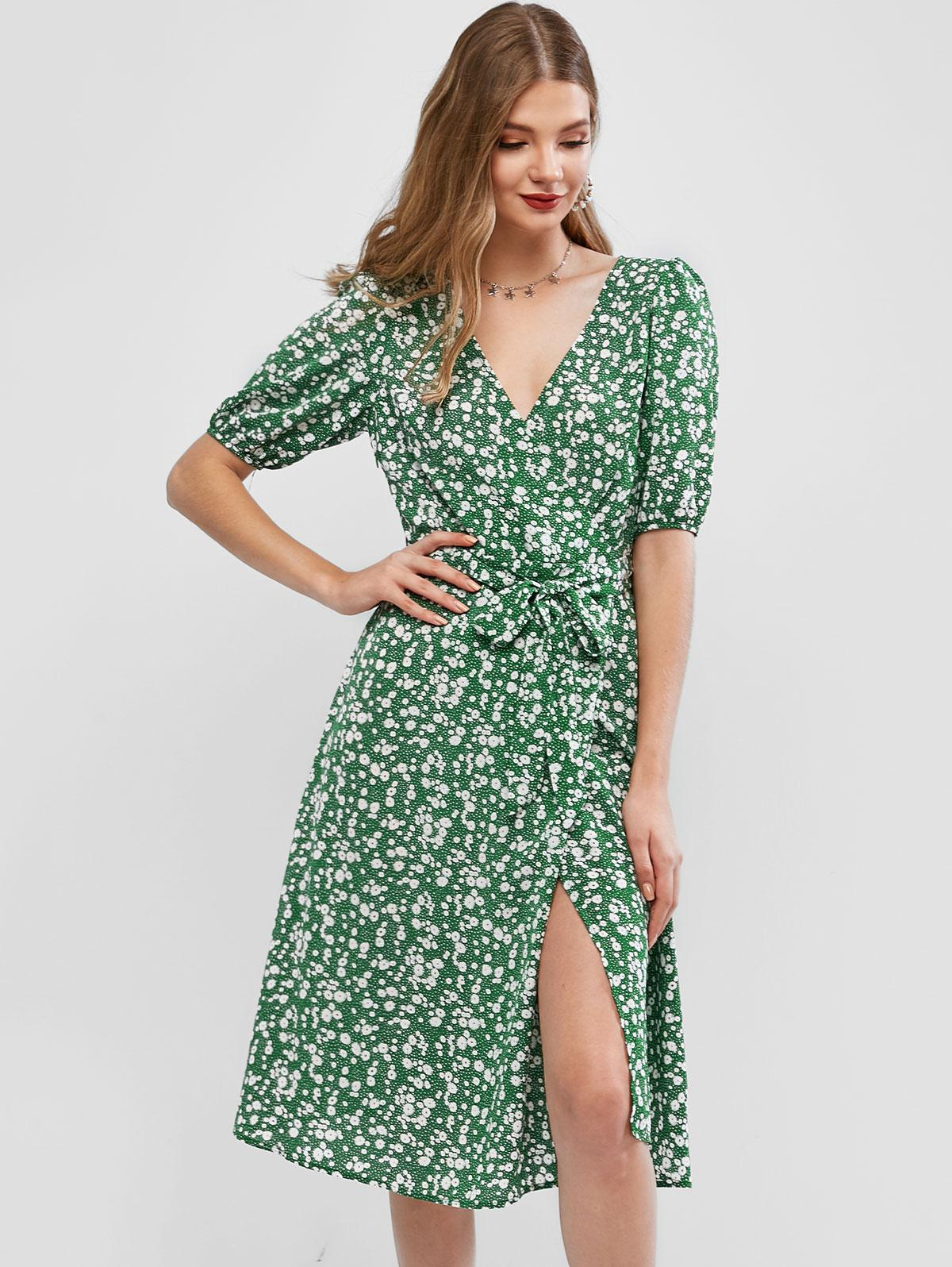 ZAFUL Ditsy Floral Surplice A Line Belted Dress
