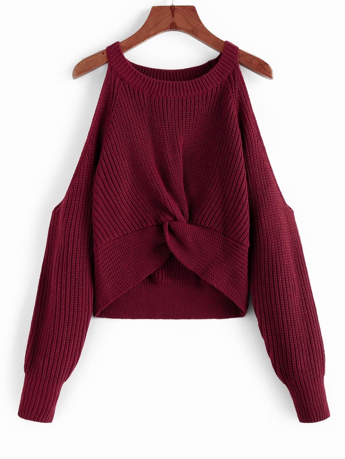 ZAFUL Front Twist Open Shoulder Sweater