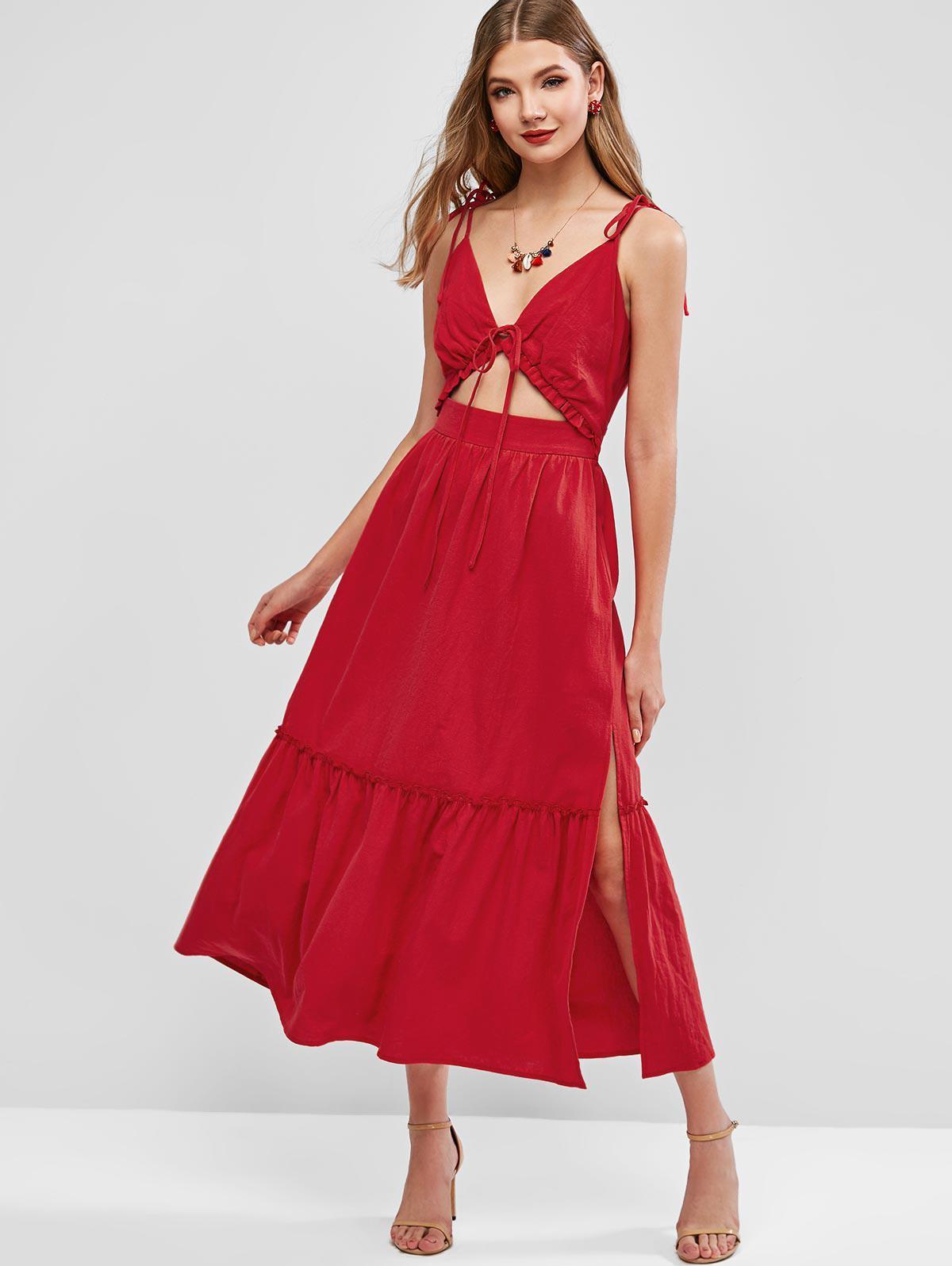 ZAFUL Cami Tie Front Tie Shoulder Slit Maxi Dress фото
