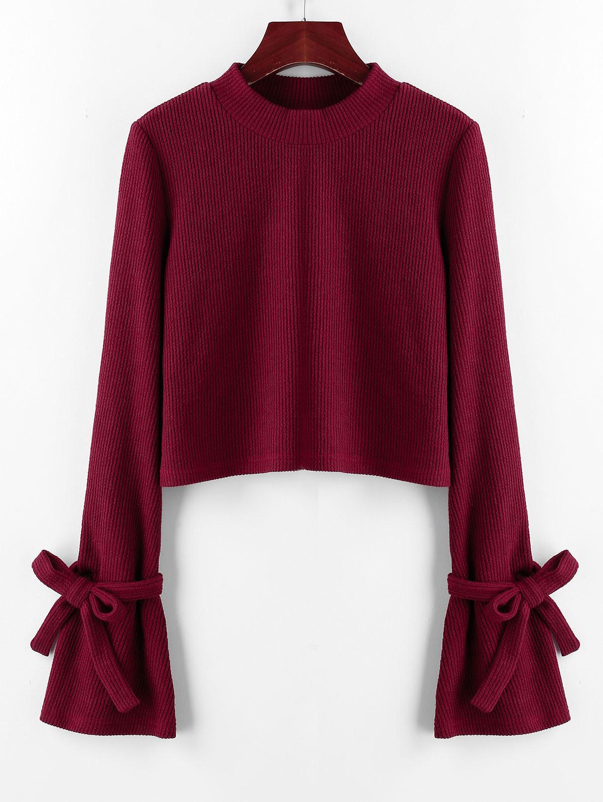 ZAFUL Ribbed Tie Cuff Flare Sleeve Sweater