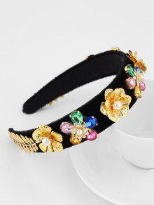 Floral Leaf Rhinestone Velour Wide Hairband