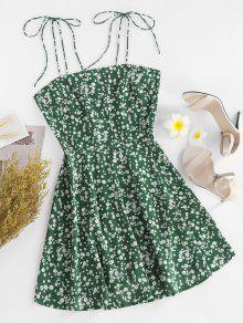 ZAFUL Ditsy طباعة التعادل الكتف فستان بلا أكمام - سلحفاة البحر الخضراء S