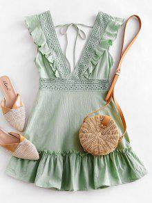 ZAFUL يغرق الكروشيه لوحة الكشكشة اللباس - الفستق الأخضر S