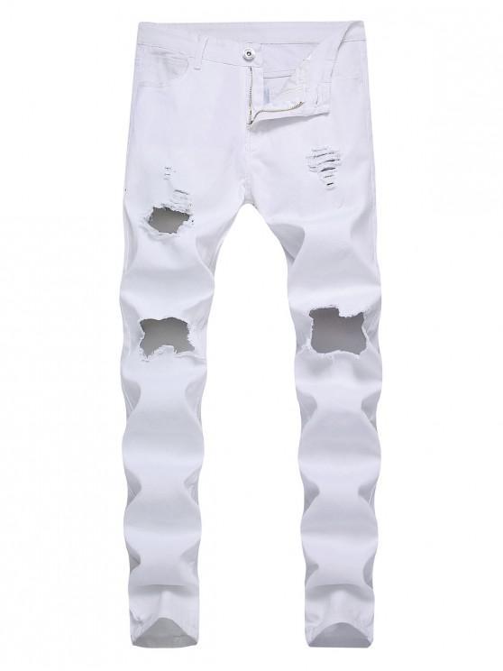 ladies Destroyed Decoration Zip Fly Slim Jeans - WHITE 36